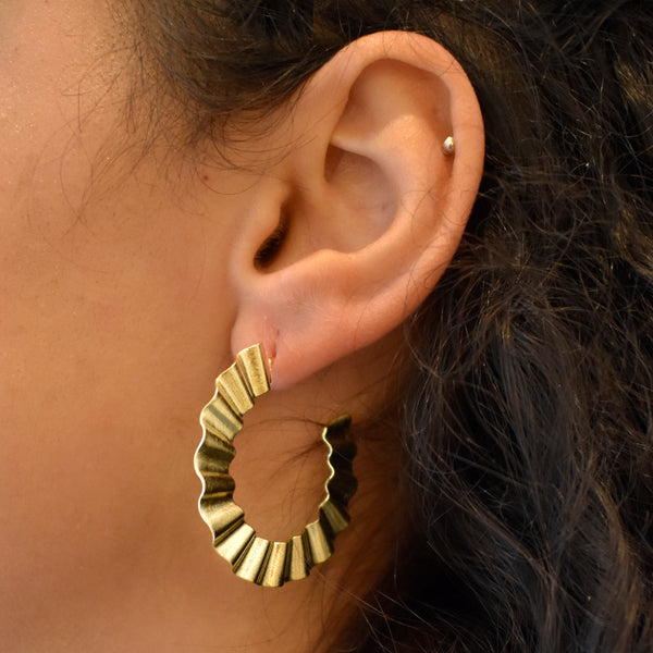 Ruffle Hoop Earrings