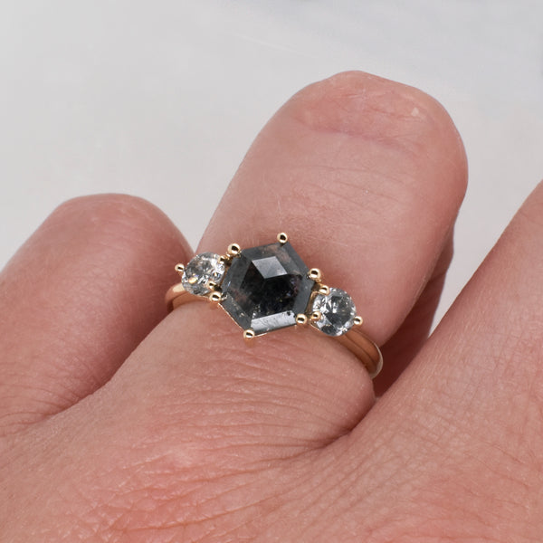 Rose Engagement Ring Setting ft. Salt & Pepper 1.68ct Hexagon Diamond