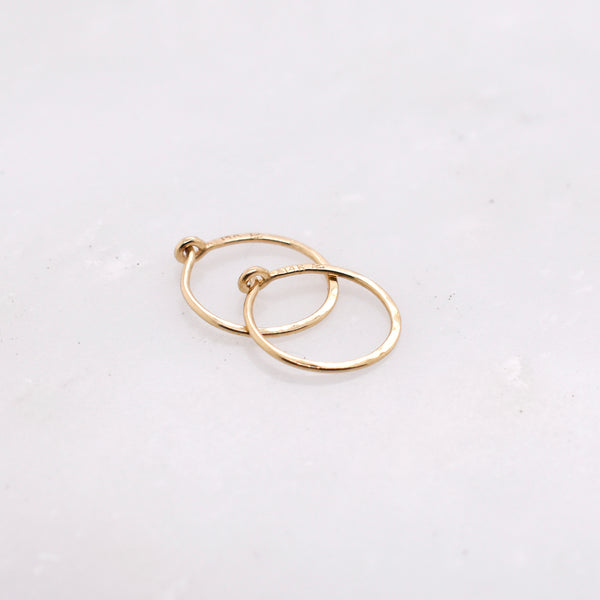 Small Hammered Gold Huggie Hoop
