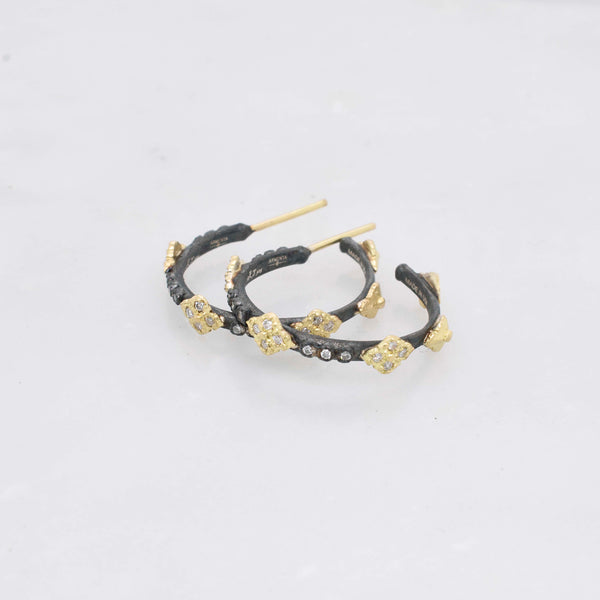 Small Black and Gold Crivelli Hoop Earrings