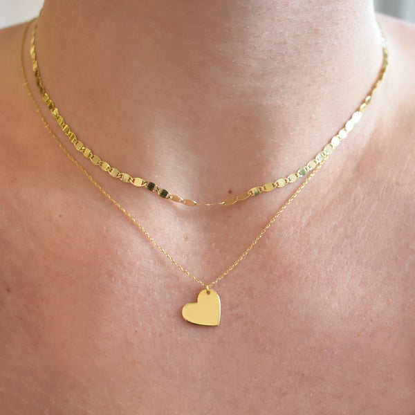 Petite Engravable Heart of Gold Necklace
