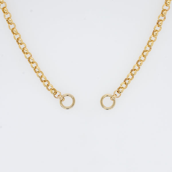 Gold Rolo Charm Necklace Split Chain