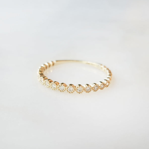 Petite Round Diamond Stack Ring