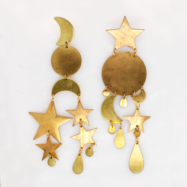 Star and Moon Statement Dangle Earrings