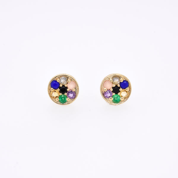 "Rainbow Compass Earrings -  ""Love You"" Message - 7 Stones"