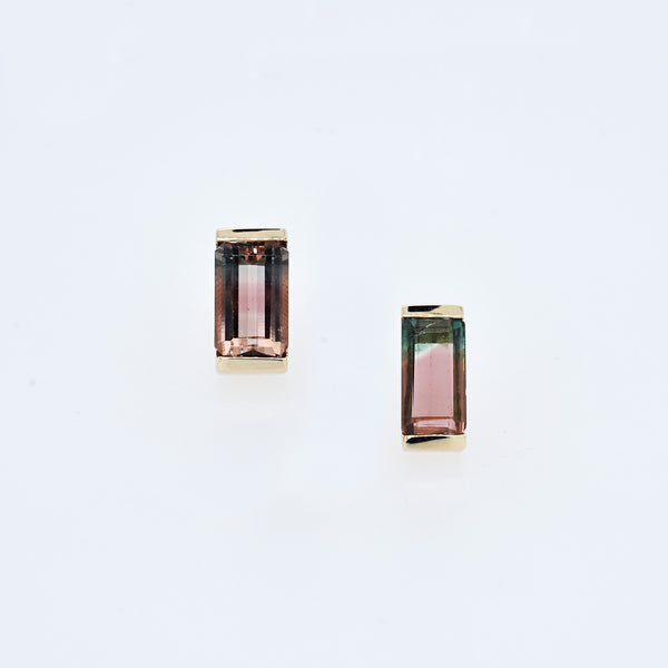 Baguette Cut Watermelon Tourmaline Studs