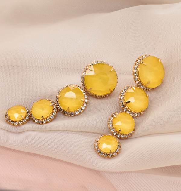 Graduated Yellow Statement Earrings