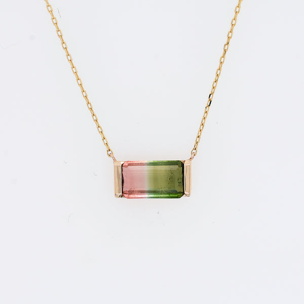 Emerald Cut Watermelon Tourmaline Necklace