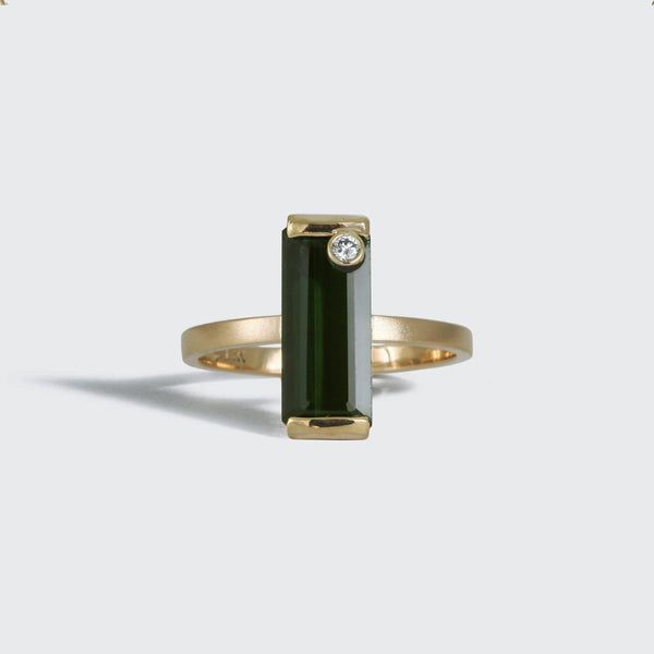Green Tourmaline Ring with Diamond Accent