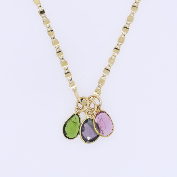 Tourmaline Trio Charm Necklace