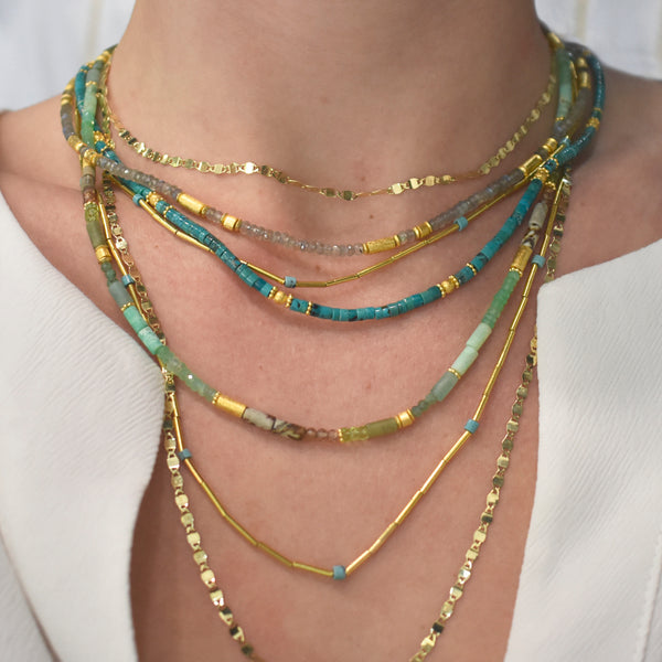 Gold and Turquoise Beaded Necklace