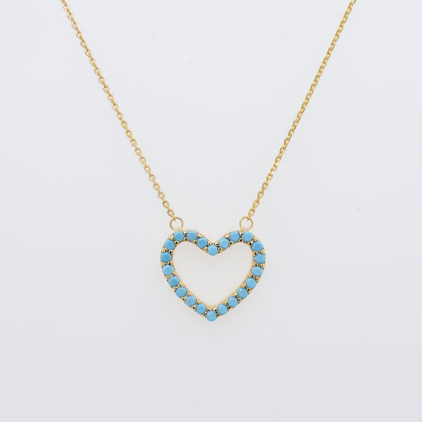 Open Hearts Turquoise Necklace