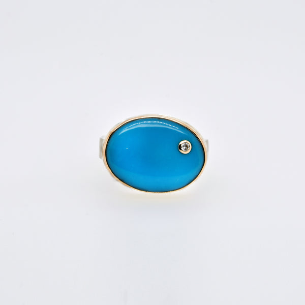 Turquoise Statement Ring with Diamond Accent