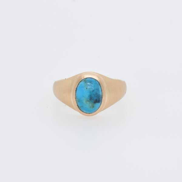 Oval Turquoise Signet Ring