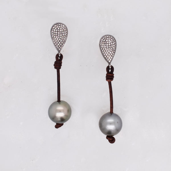 Tahitian Pearl & Diamond Teardrop Earrings