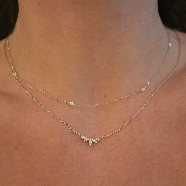 Essential White Gold Diamond Station Necklace
