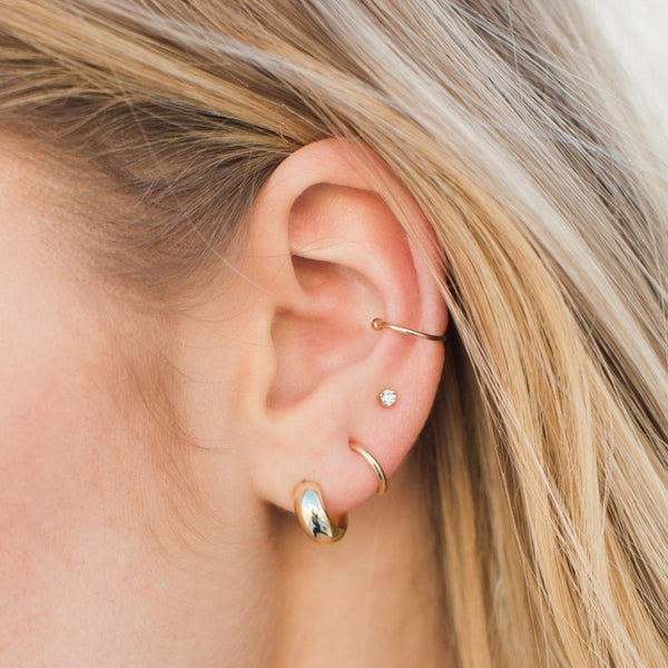 Thick Gold Half Hoops