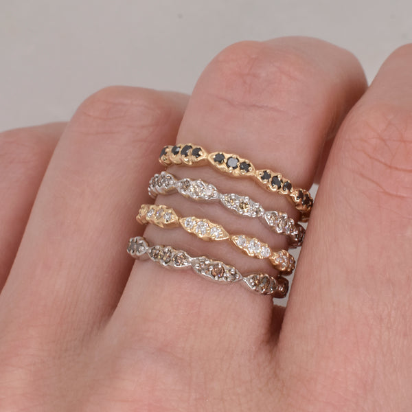 Champagne Diamond Wave Stack Ring