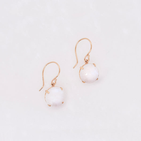 White Rainbow Moonstone Earrings