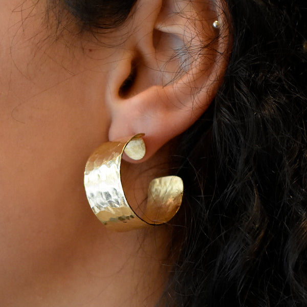 Wide Gold Statement Hoops