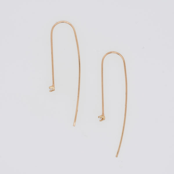 Wire Threader Earrings with Diamond Accent
