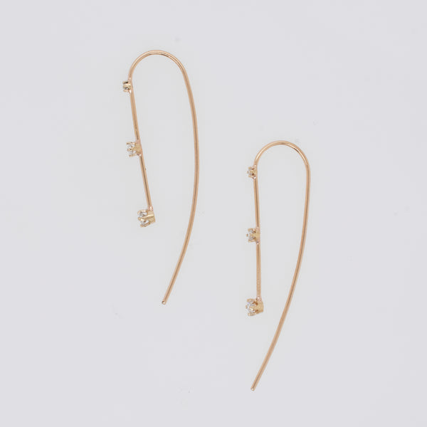 Wire Threader Earrings with Cascading Diamonds