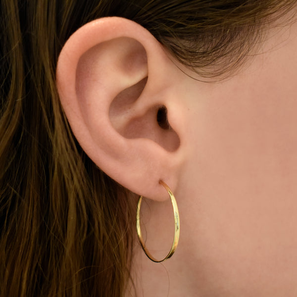 Classic Small Forged Gold Hoops