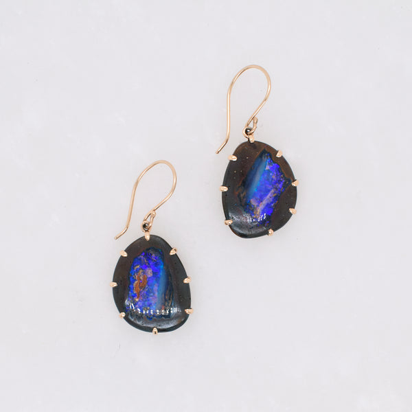 Asymmetrical Boulder Opal Earrings