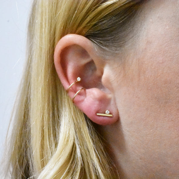 Double Ear Cuff with Diamond