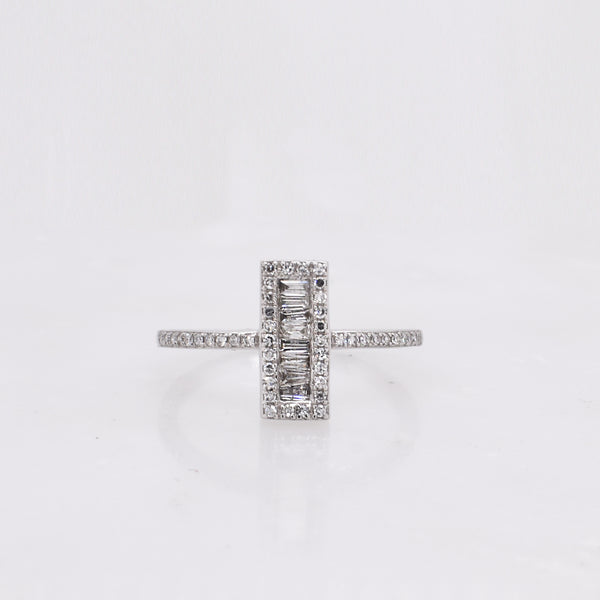 White Gold Baguette & Round Diamond Ring