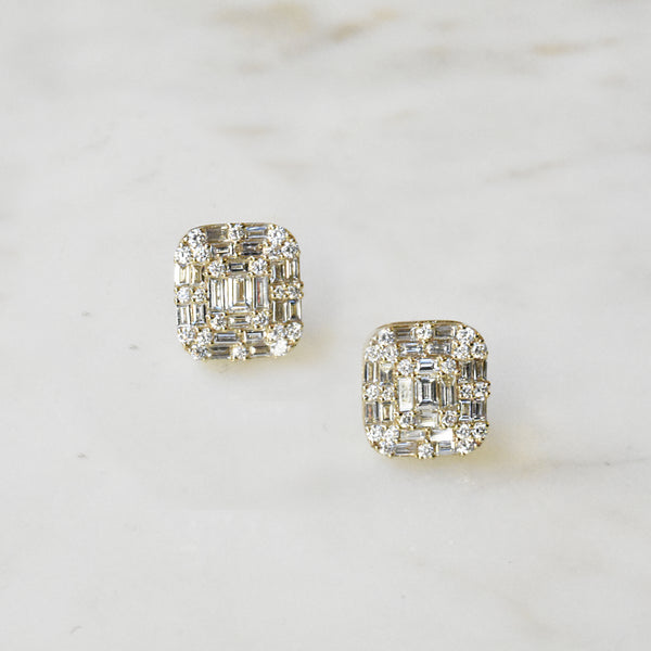 Mosaic Baguette Stud Earrings