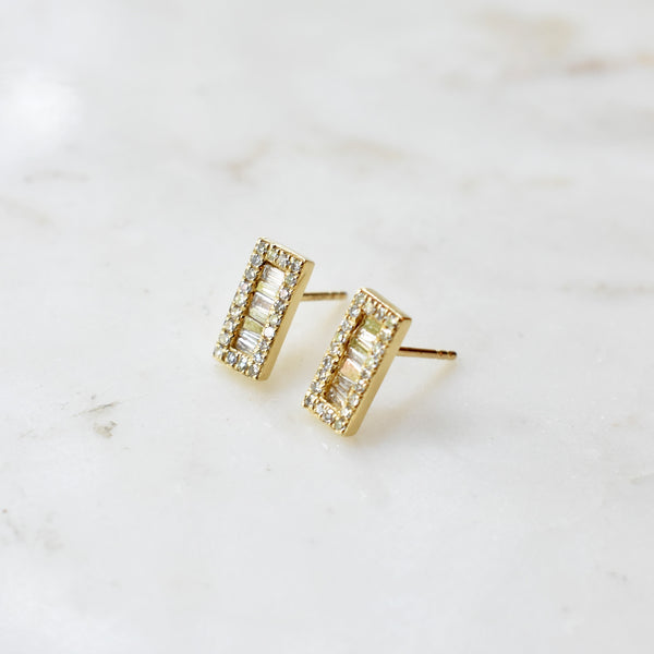 Gold Rectangle Baguette Diamond Earring