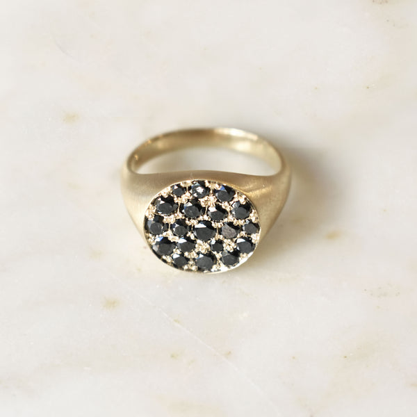 Noire Black Diamond Signet Ring