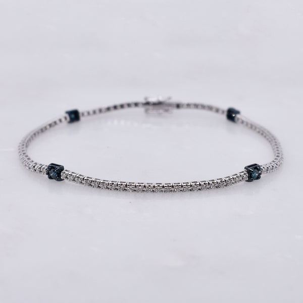 White Diamond Tennis Bracelet with Blue Diamond Accents