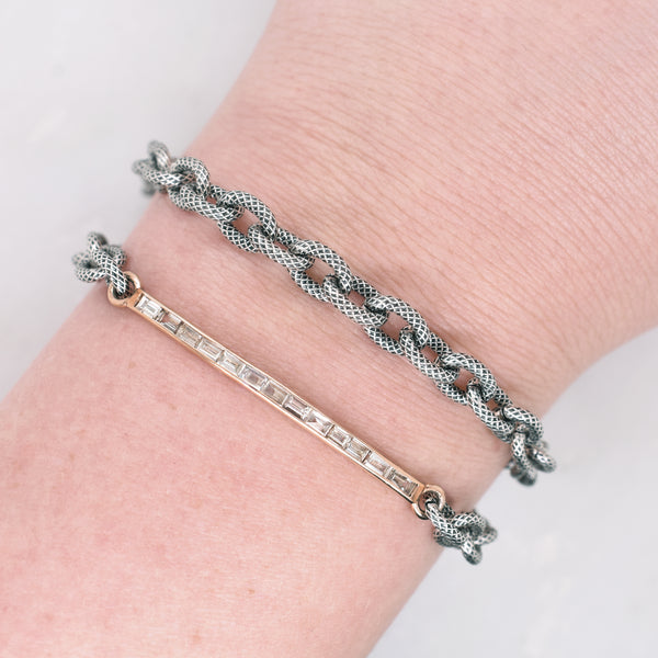 Baguette Diamond Bar Wrap Bracelet
