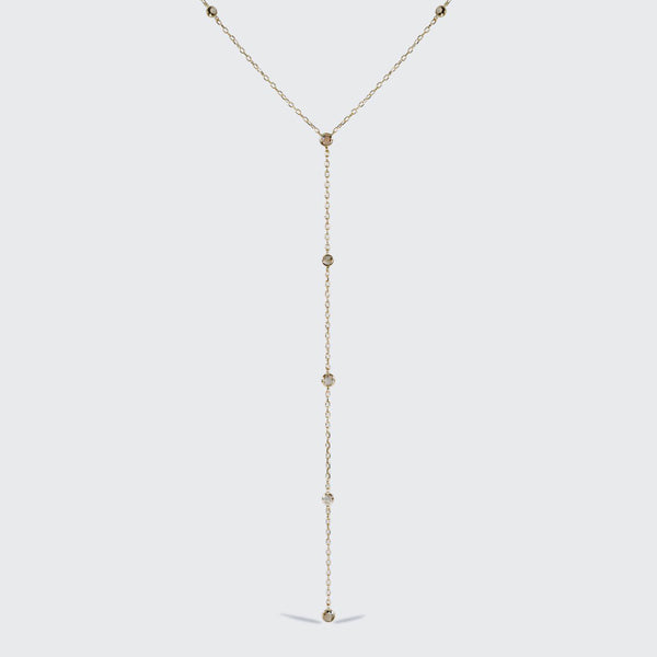 Scattered Champagne Diamond Lariat Necklace