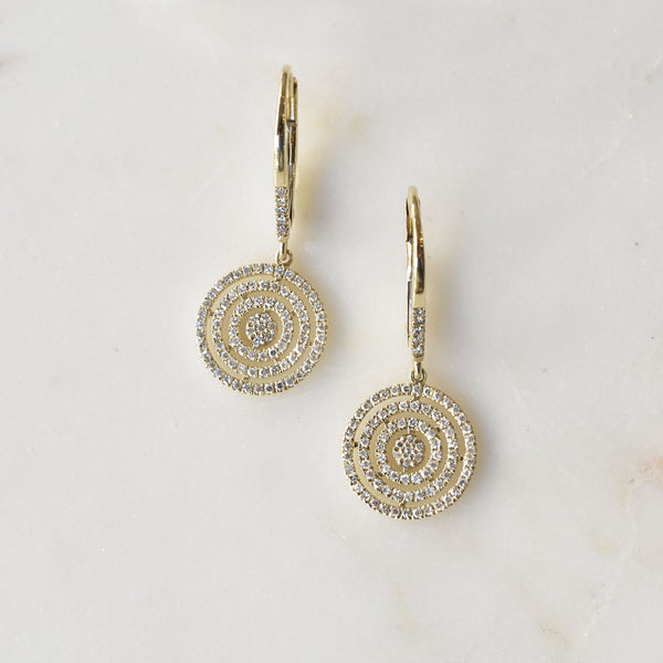Concentric Pave Circle Earrings
