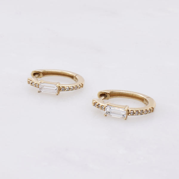 Gold Huggie Hoops with Baguette Diamond