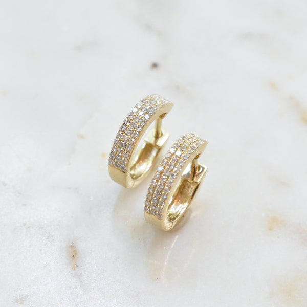 Pavé Diamond Huggie Hoops