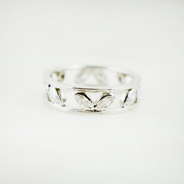 14K White Gold Camellia Eternity Ring