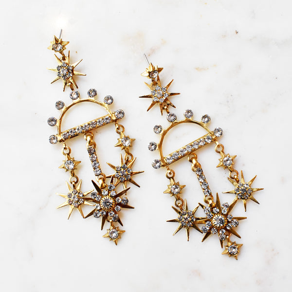 Samson Crystal Starburst Drop Earrings