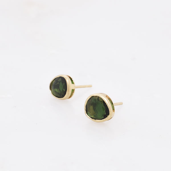 Raised Green Tourmaline Studs