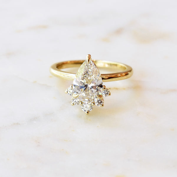 Eleanor 1.61ct Pear Cut Diamond Engagement with Diamond Crown Accent