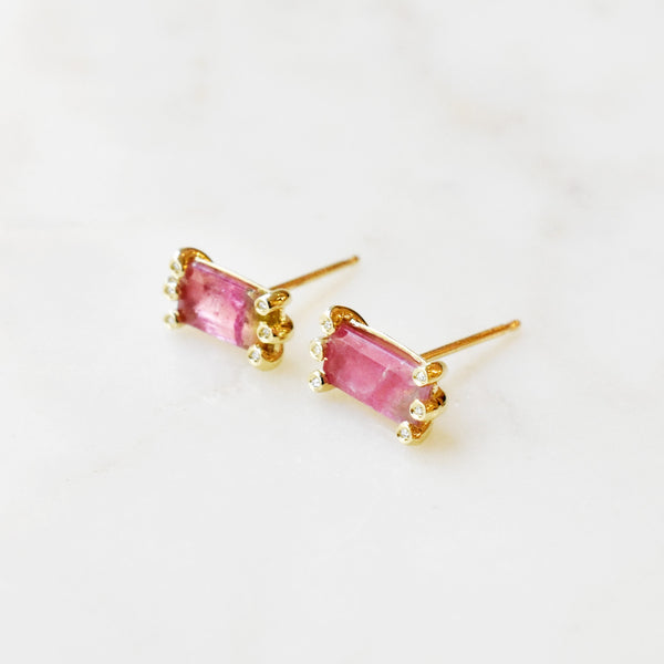 Honore Watermelon Tourmaline Earrings with Diamond Accents