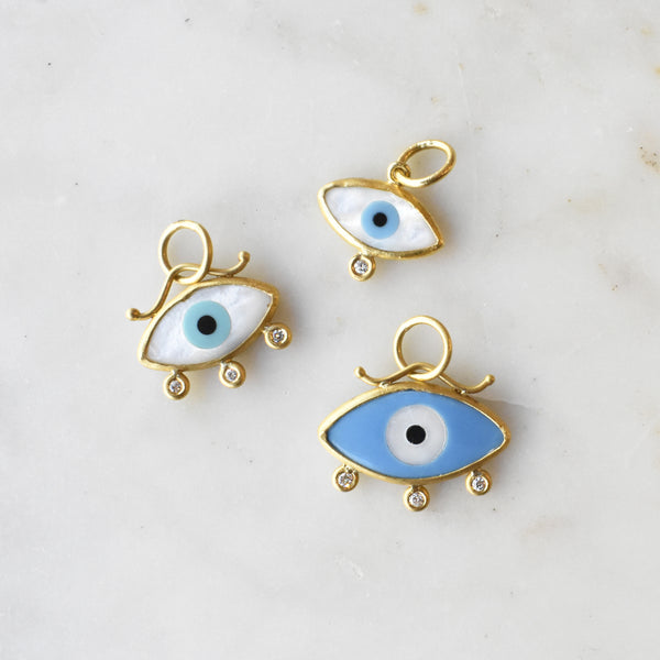Petite Evil Eye Charm with Diamonds