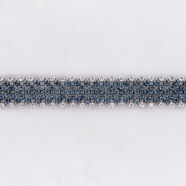 Blue and White Diamond Statement Bracelet