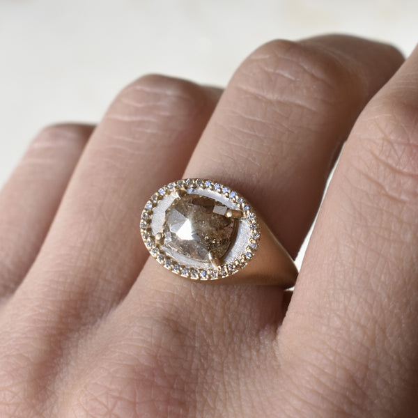 Champagne Cushion Cut Halo Signet Ring