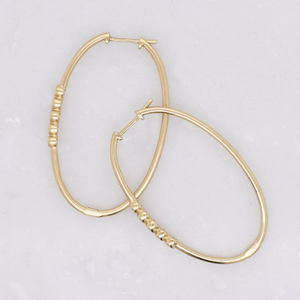 Gold Oval Hoops with Diamond Accents