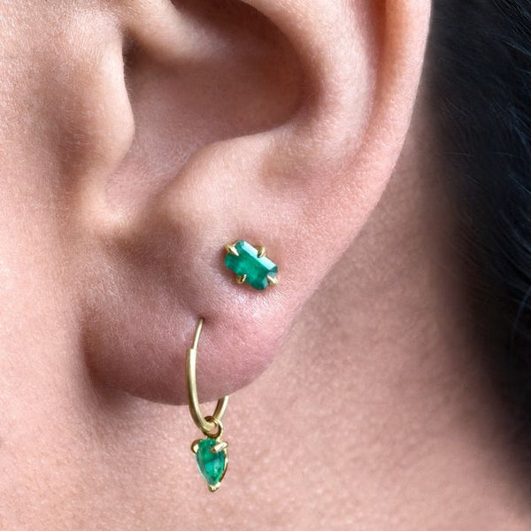 Emerald Dangle Huggie Hoops