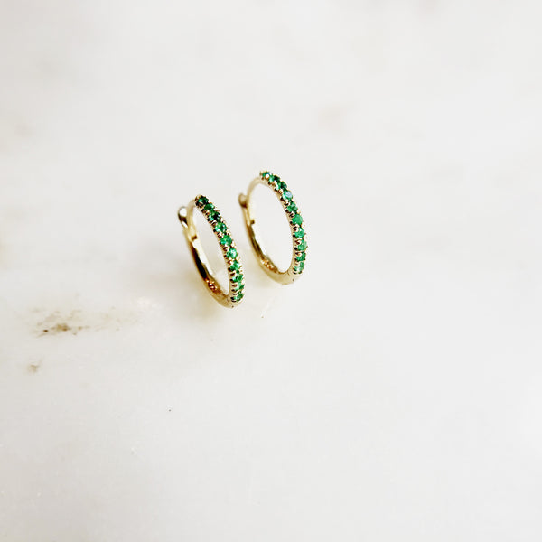 Emerald Huggie Hoops